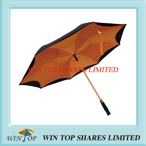 Orange UV proof Rainproof Auto Inverse car Umbrella