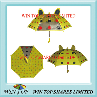 High Quality Pongee Cartoon Yellow Children Umbrella