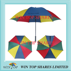 Deep red, yellow, navy blue, green alternating nylon material golf Umbrella