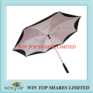 Pink windproof Rainproof automatic Reverse Car Umbrella