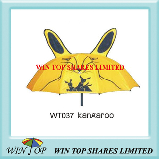 Australia Kangaroo Design Yellow Nylon Umbrella (WT037)