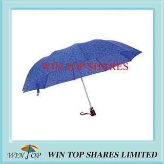 Blue Printed Polyester 3 Folds Gift Umbrella