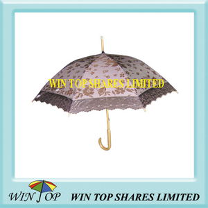"21"" Ladies Straight Sun Umbrella with Lace"