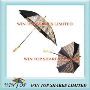 Leopard Design Full Auto Straight Umbrella