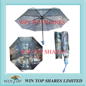 Modern city scenery satin full automatical umbrella