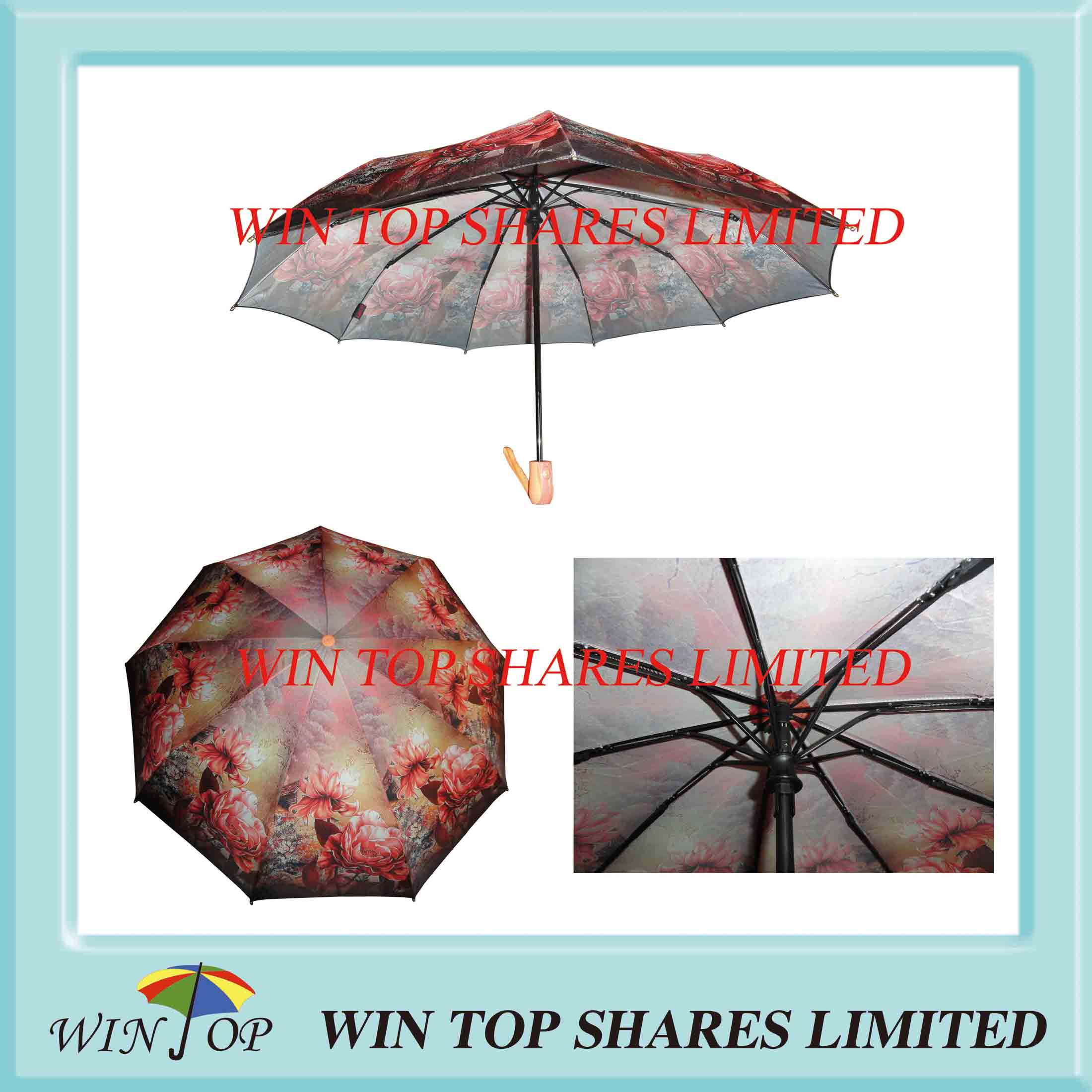 9 Ribs Flower Hot Transfer Lady Umbrella