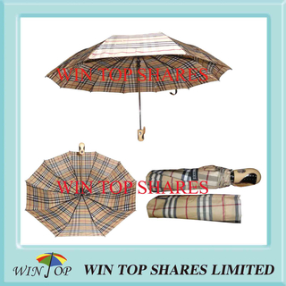 Heavy Duty Classical Check 3 Folds Automatic Umbrella (WT3097)