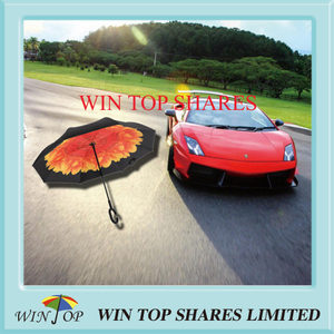 Red and Yellow Brandnew Sturdy Rose Reverse Car Umbrella