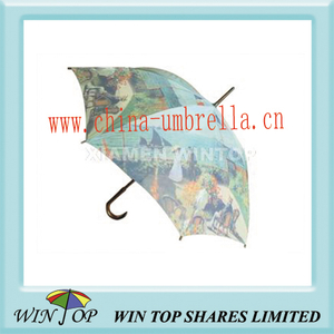 "23"" Heat Transfer Printing Wood Art Umbrella"