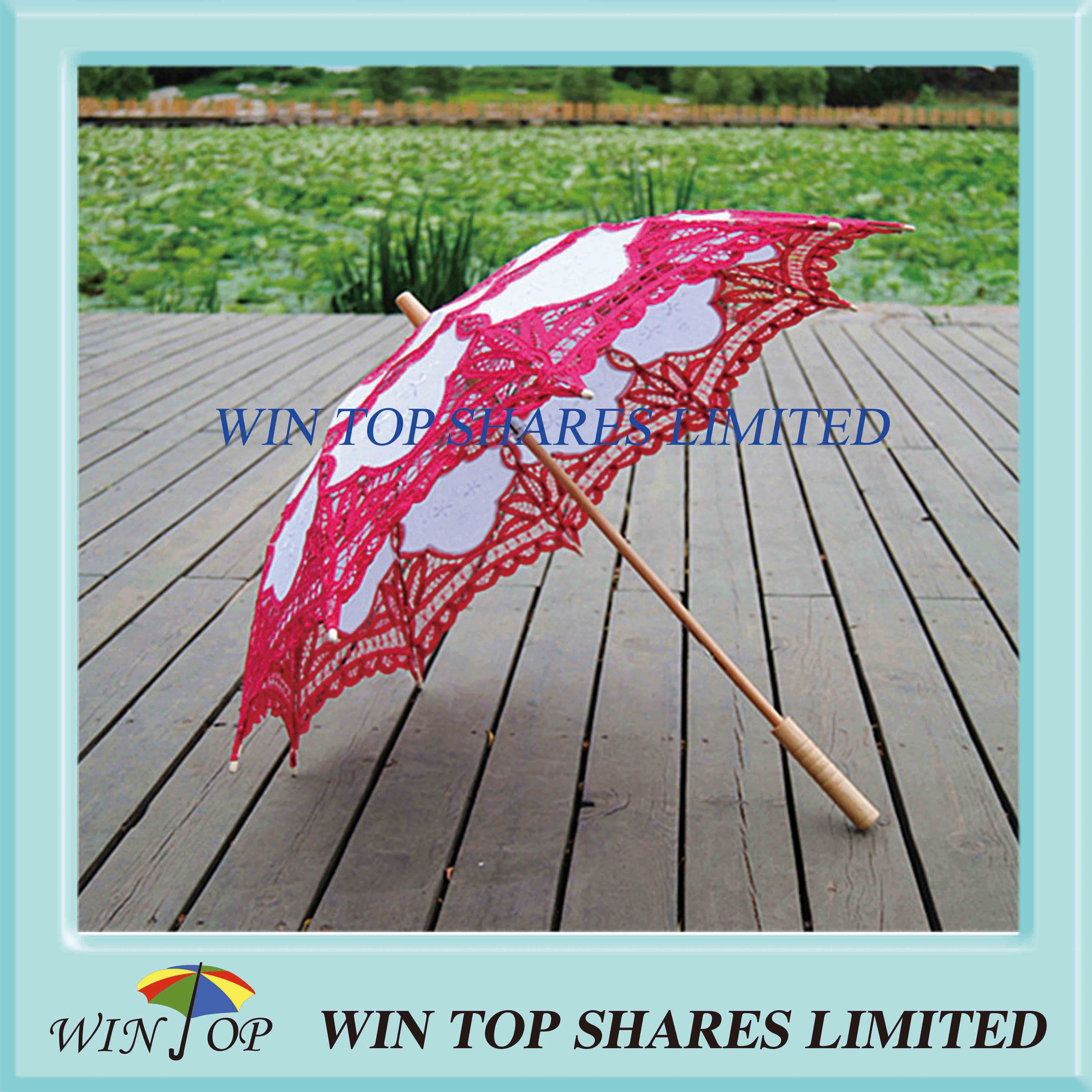 China popular red and white craft parasol