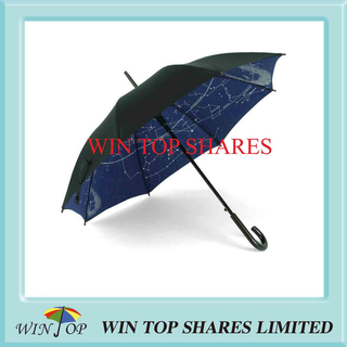 Double Layers Plain and Printed Pongee Umbrella