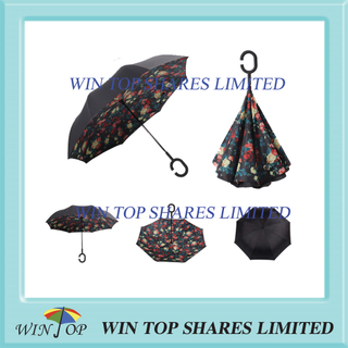 Beautiful Rose printed reverted Umbrella from parasol factory
